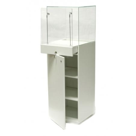 Vitrine Sockel mit Tür weiß, 40 x 40 x 140 cm (LxBxH)