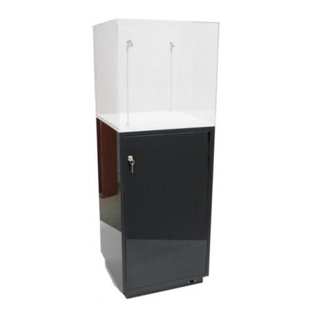 Galeriesockel schwarz Glanz mit Tür, 30 x 30 x 100 cm (LxBxH)