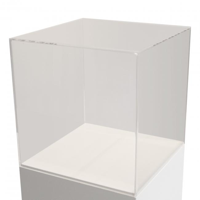 Vitrinenhaube aus extra transparentem 5mm-Acrylglas, 60 x 60 x 60 cm (LxBxH), Kanten poliert & geschliffen