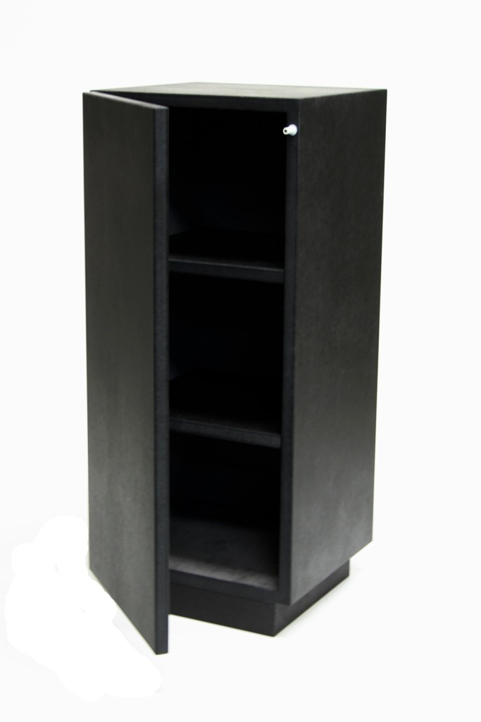 Galeriesockel schwarz Glanz mit Tür